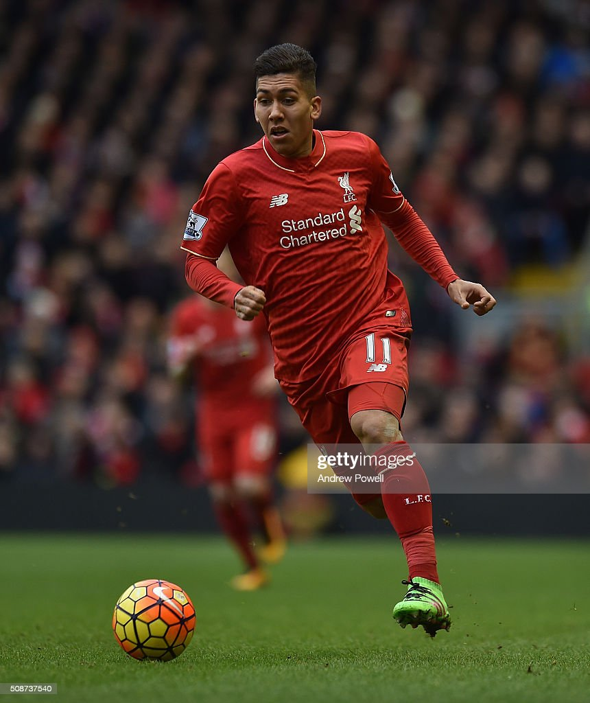 <a gi-track='captionPersonalityLinkClicked' href=/galleries/search?phrase=Roberto+Firmino&family=editorial&specificpeople=7522629 ng-click='$event.stopPropagation()'>Roberto Firmino</a> of Liverpool in action during the Barclays Premier League match between Liverpool and Sunderland at Anfield on February 6, 2016 in Liverpool, England.