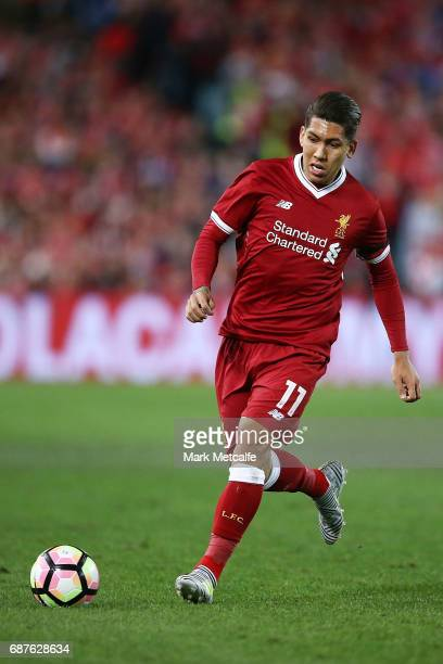Roberto Firmino of Liverpool in action during the International Friendly match between Sydney FC and Liverpool FC at ANZ Stadium on May 24 2017 in...