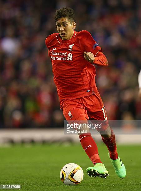 Roberto Firmino of Liverpool in action during the UEFA Europa League Round of 32 Second Leg match between Liverpool and FC Augsburg at Anfield on...