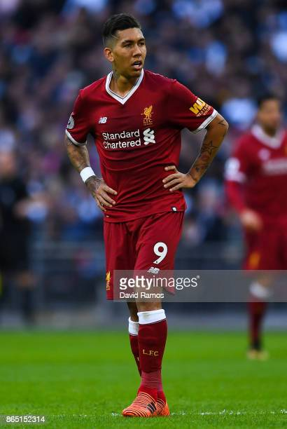 Roberto Firmino of Liverpool looks on during the Premier League match between Tottenham Hotspur and Liverpool at Wembley Stadium on October 22 2017...