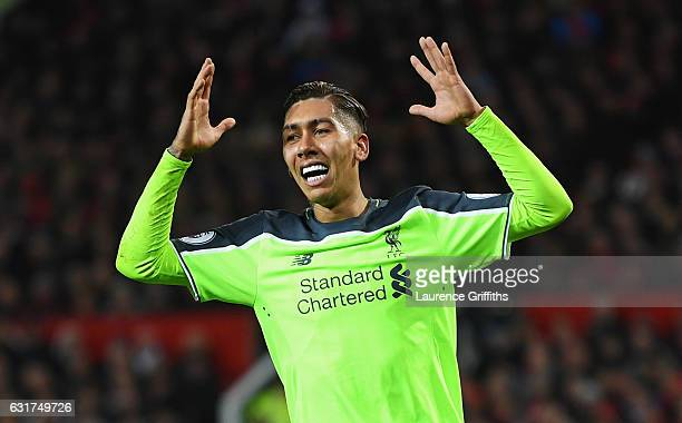 Roberto Firmino of Liverpool reacts during the Premier League match between Manchester United and Liverpool at Old Trafford on January 15 2017 in...