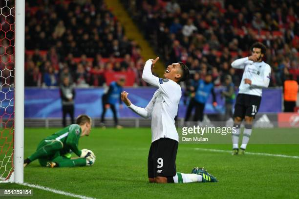 Roberto Firmino of Liverpool reacts to missing a chance during the UEFA Champions League group E match between Spartak Moskva and Liverpool FC at...