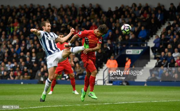Roberto Firmino of Liverpool scores his sides first goal during the Premier League match between West Bromwich Albion and Liverpool at The Hawthorns...