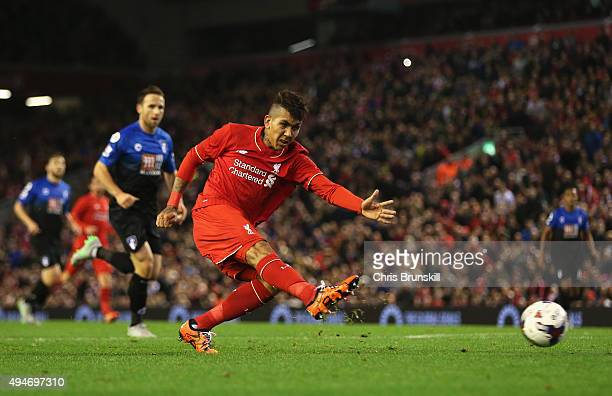 Roberto Firmino of Liverpool shoots during the Capital One Cup Fourth Round match between Liverpool and AFC Bournemouth at Anfield on October 28 2015...