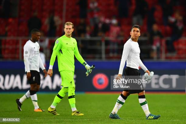 Roberto Firmino of Liverpool walk off the pitch dejected after the UEFA Champions League group E match between Spartak Moskva and Liverpool FC at...