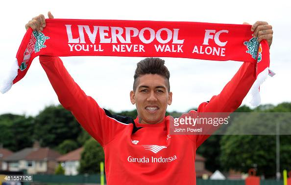 Roberto Firmino on his first day at Liverpool FC at Melwood Training Ground on July 22 2015 in Liverpool England