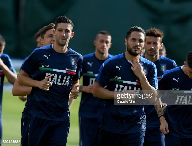 Roberto Gagliardini and Danilo D'Ambrosio of Italy in action during the training session at Coverciano at Coverciano on May 30 2017 in Florence Italy