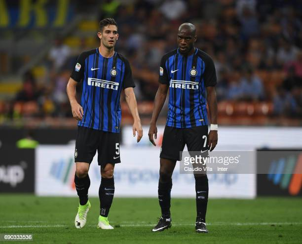 Roberto Gagliardini and Geoffrey Kondogbia of FC Internazionale look on during the Serie A match between FC Internazionale and Udinese Calcio at...