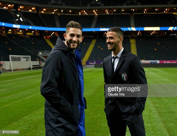 Roberto Gagliardini and Leonardo Spinazzola of Italy smile during Italy walk around at Friends Arena on November 9 2017 in Stockholm Sweden