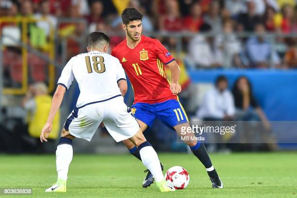 Roberto Gagliardini and Marco Asensio during the UEFA European Under21 match between Spain and Italy on June 27 2017 in Krakow Poland