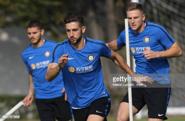 Roberto Gagliardini and Milan Skriniar of FC Internazionale train during the FC Internazionale training session at the club's training ground Suning...