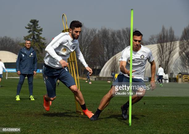 Roberto Gagliardini and Trent Sainsbury in action during FC Internazionale training session at Suning Training Center at Appiano Gentile on March 17...