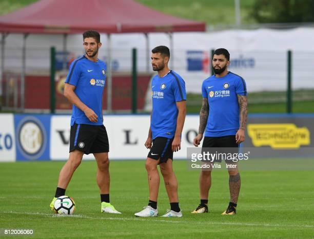 Roberto Gagliardini Antonio Candreva and Gabriel Barbosa Almeida of FC Internazionale in action during a FC Internazionale training session on July...