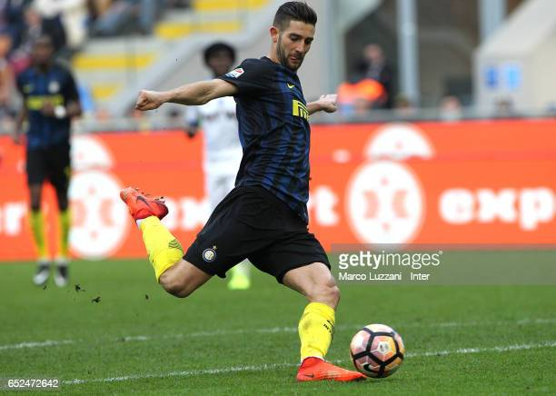 Roberto Gagliardini of FC Internazion scores the sixth goal during the Serie A match between FC Internazionale and Atalanta BC at Stadio Giuseppe...