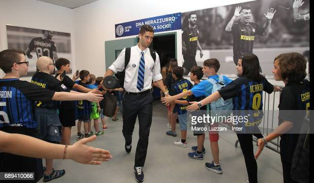 Roberto Gagliardini of FC Internazionale arrives prior to the Serie A match between FC Internazionale and Udinese Calcio at Stadio Giuseppe Meazza on...
