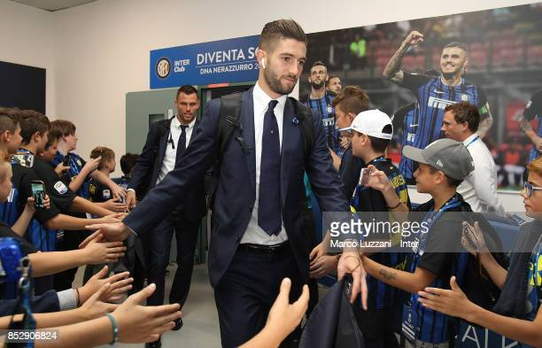 Roberto Gagliardini of FC Internazionale arrives prior to the Serie A match between FC Internazionale and Genoa CFC at Stadio Giuseppe Meazza on...