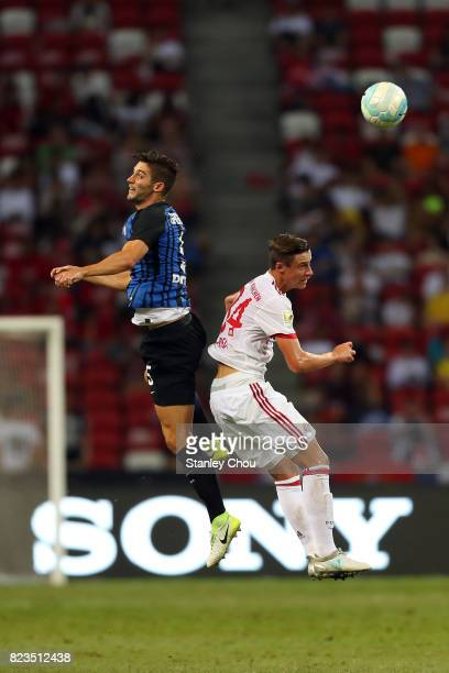 Roberto Gagliardini of FC Internazionale battles with Marco Friedl of FC Bayern during the International Champions Cup match between FC Bayern and FC...