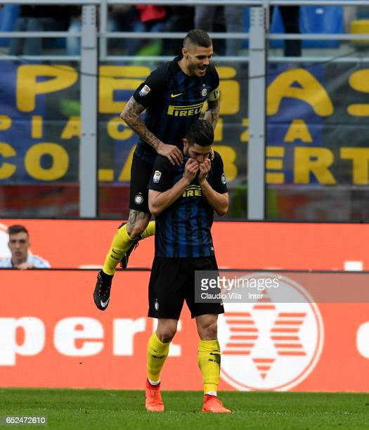 Roberto Gagliardini of FC Internazionale celebrates after scoring the sixth goal during the Serie A match between FC Internazionale and Atalanta BC...