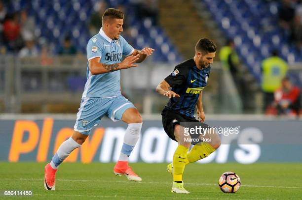 Roberto Gagliardini of FC Internazionale compete for the ball with Sergej Milinkovic Savic of SS Lazio during the Serie A match between SS Lazio and...