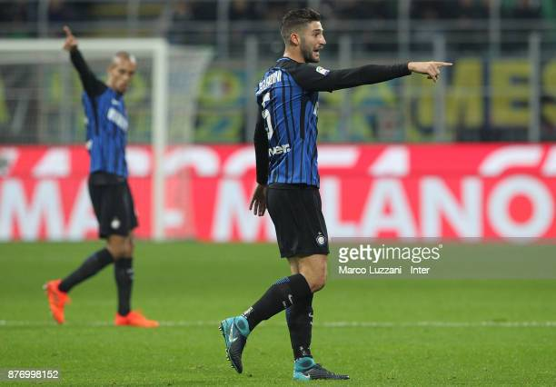 Roberto Gagliardini of FC Internazionale gestures during the Serie A match between FC Internazionale and Atalanta BC at Stadio Giuseppe Meazza on...