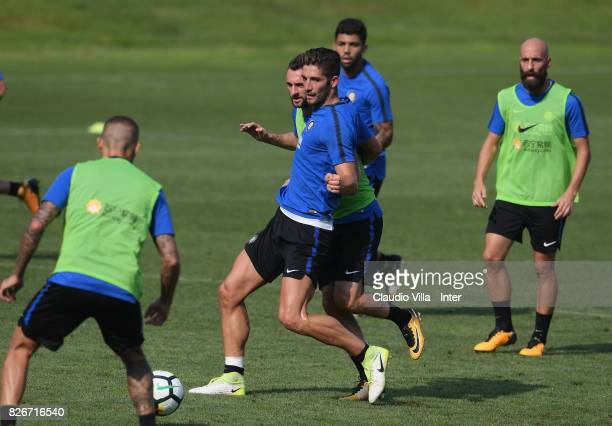 Roberto Gagliardini of FC Internazionale in action during a training session at Suning Training Center at Appiano Gentile on August 3 2017 in Como...