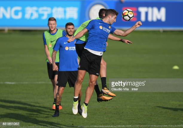 Roberto Gagliardini of FC Internazionale in action during a training session at Suning Training Center at Appiano Gentile on August 15 2017 in Como...