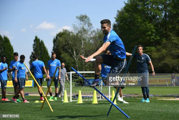 Roberto Gagliardini of FC Internazionale in action during FC Internazionale training session at Suning Training Center at Appiano Gentile on May 16...