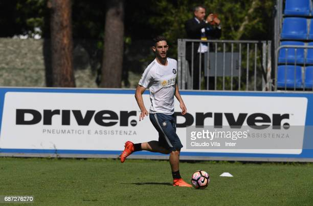 Roberto Gagliardini of FC Internazionale in action during FC Internazionale training session at Suning Training Center at Appiano Gentile on May 23...