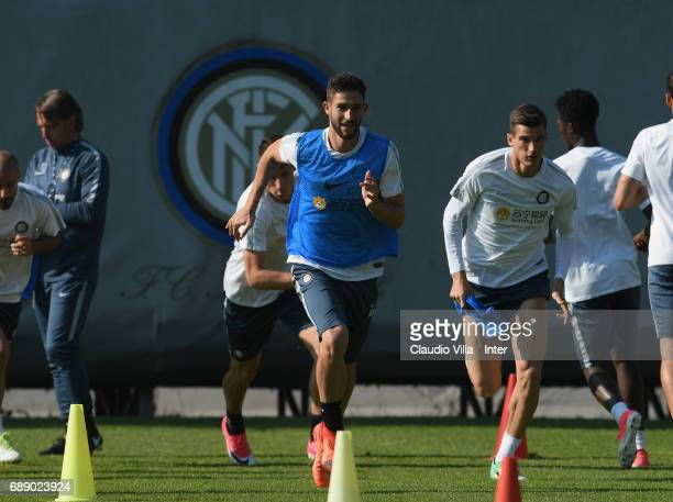 Roberto Gagliardini of FC Internazionale in action during FC Internazionale training session at Suning Training Center at Appiano Gentile on May 27...