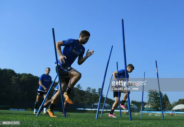 Roberto Gagliardini of FC Internazionale in action during the training session at Suning Training Center at Appiano Gentile on October 12 2017 in...