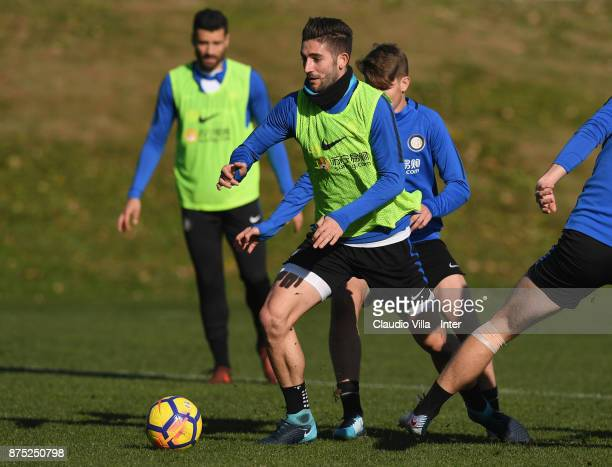 Roberto Gagliardini of FC Internazionale in action during the FC Internazionale training session at Suning Training Center at Appiano Gentile on...
