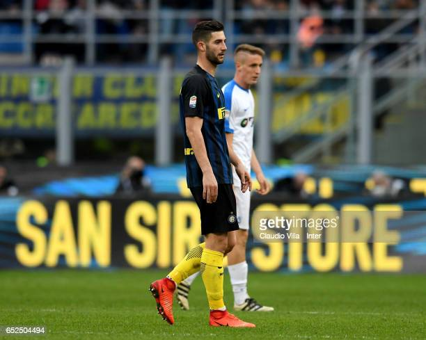 Roberto Gagliardini of FC Internazionale looks on during the Serie A match between FC Internazionale and Atalanta BC at Stadio Giuseppe Meazza on...