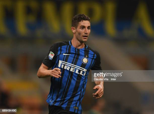 Roberto Gagliardini of FC Internazionale looks on during the Serie A match between FC Internazionale and Udinese Calcio at Stadio Giuseppe Meazza on...