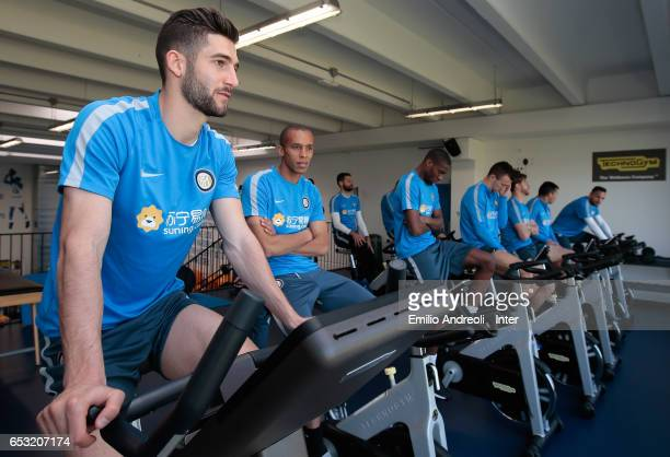 Roberto Gagliardini of FC Internazionale Milano trains in the gym during the FC Internazionale training session at the club's training ground Suning...