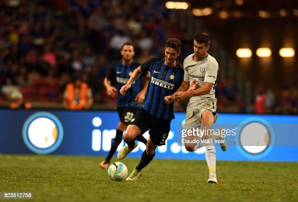 Roberto Gagliardini of FC Internazionale of FC Internazionale and Alvaro Morata of Chelsea FC compete for the ball during the International Champions...