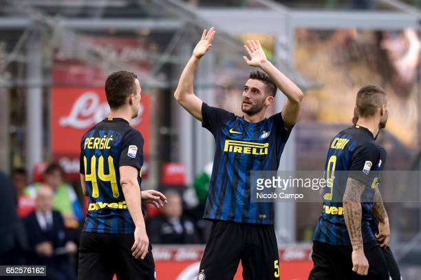 Roberto Gagliardini of FC Internazionale reacts after scoring a goal during the Serie A football match between FC Internazionale and Atalanta BC FC...