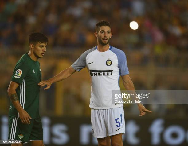 Roberto Gagliardini of FC Internazionale reacts during the PreSeason Friendly match between FC Internazionale and Real Betis at Stadio Via del Mare...