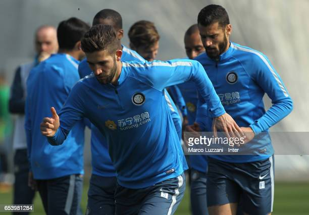 Roberto Gagliardini of FC Internazionale trains during the FC Internazionale training session at the club's training ground Suning Training Center in...