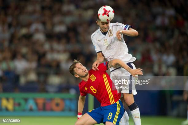 Roberto Gagliardini of Italy and Saul Niguez of Spain fight for the ball during the UEFA European Under21 Championship SemiFinal match between Spain...