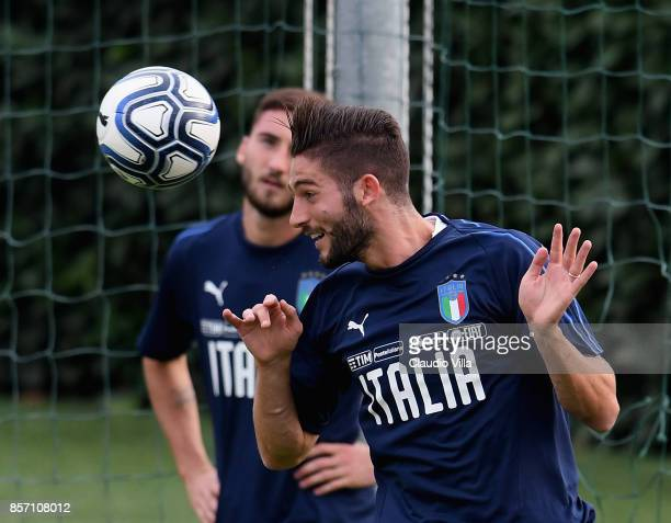 Roberto Gagliardini of Italy in action during a training session at Italy club's training ground at Coverciano on October 3 2017 in Florence Italy