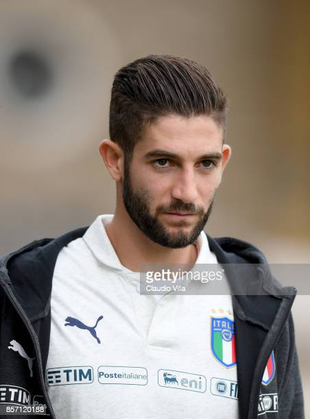 Roberto Gagliardini of Italy looks on prior to the training session at Italy club's training ground at Coverciano on October 3 2017 in Florence Italy