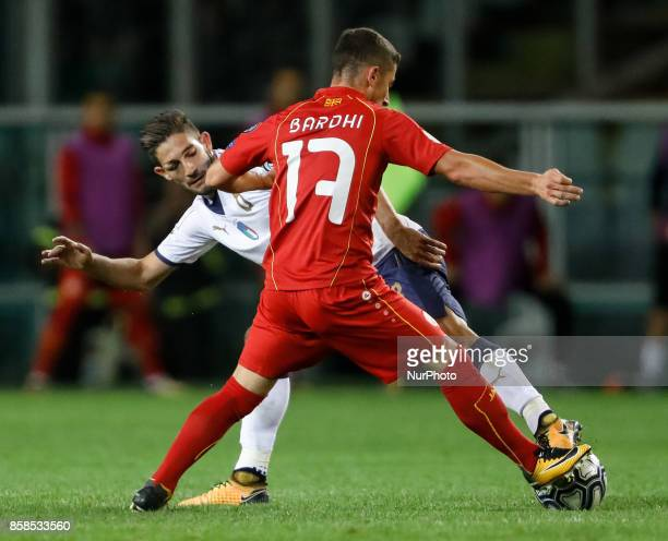 Roberto Gagliardini of Italy national team and Enis Bardhi of FYR Macedonia national team vie for the ball during the 2018 FIFA World Cup Russia...