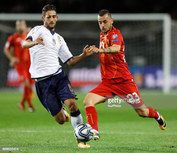 Roberto Gagliardini of Italy national team and Ilija Nestorovski of FYR Macedonia national team vie for the ball during the 2018 FIFA World Cup...