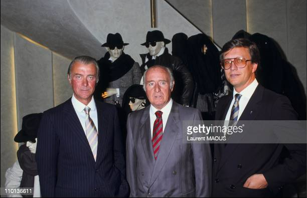 RobertoMaurizio and Georgio Gucci at a new store of Gucci in ParisFrance on September 22th1983