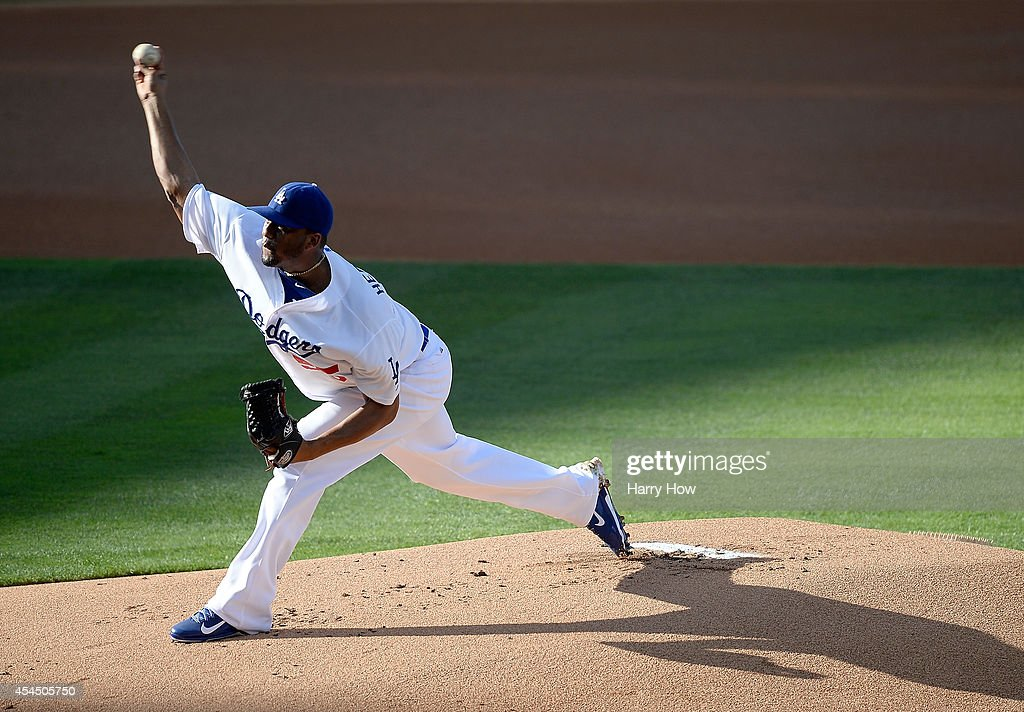 Roberto Hernandez #55 of the Los Angeles Dodgers pitches against the Washington Nationals during the first inning at Dodger Stadium on September 1, 2014 in Los Angeles, California.
