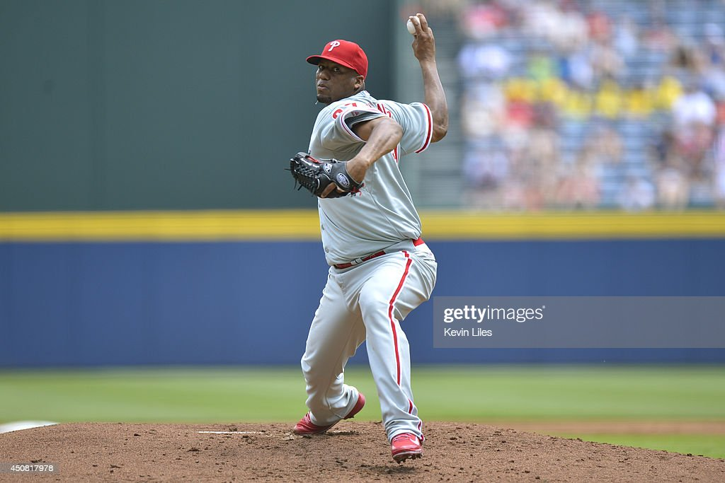 Roberto Hernandez #27 of the Philadelphia Phillies pitches against the Atlanta Braves during the first inning at Turner Field on June 18, 2014 in Atlanta, Georgia.