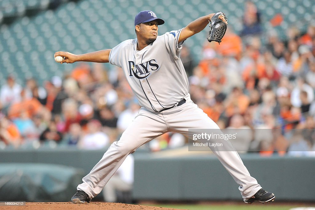 Roberto Hernandez #40 of the Tampa Bay Rays pitches during a baseball game against the Baltimore Orioles on April 16, 2013 at Oriole Park at Camden Yards in Baltimore, Maryland. The Orioles won 5- 4.