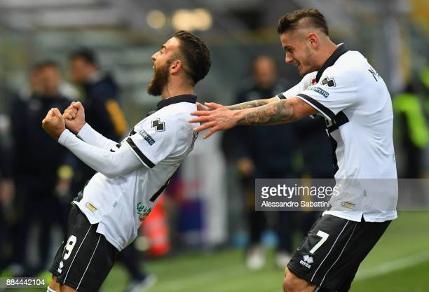 Roberto Insigne of Parma Calcio celebrates after scoring the opening goal during the Serie B match between Parma Calcio and Pro Vercelli FC at Stadio...