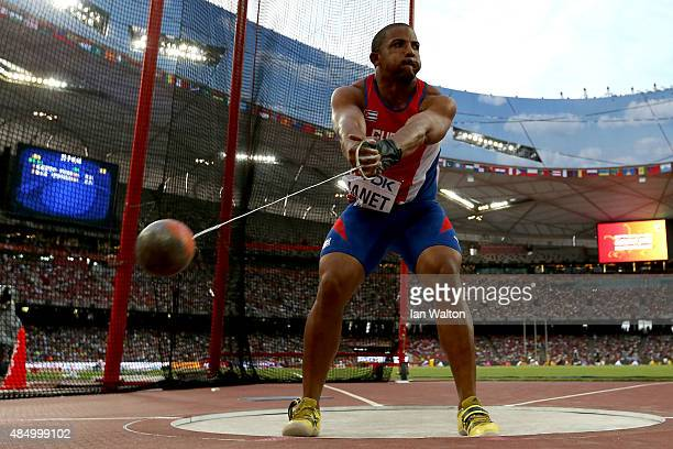 Roberto Janet of Cuba competes in the Men's Hammer final during day two of the 15th IAAF World Athletics Championships Beijing 2015 at Beijing...