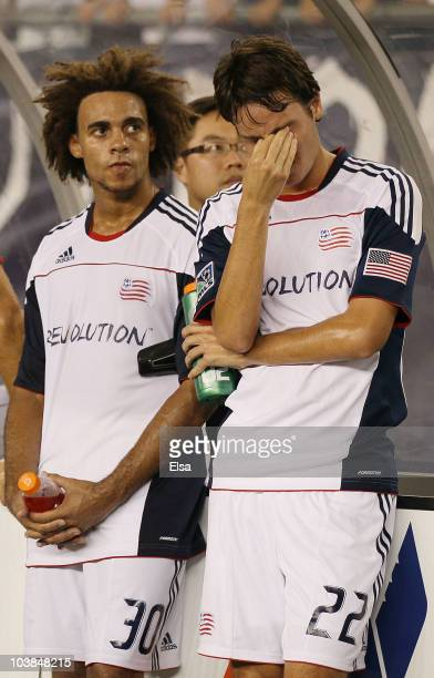 Roberto Linck Kevin Alston of the New England Revolution react to the loss of the SuperLiga 2010 championship game on September 1 2010 at Gillette...
